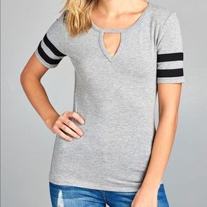 Tops - Heather Gray Keyhole Double Stripe Tee